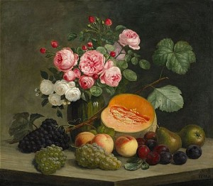 Stilleben Med Frukter Och Rosor by Emil C. ULNITZ