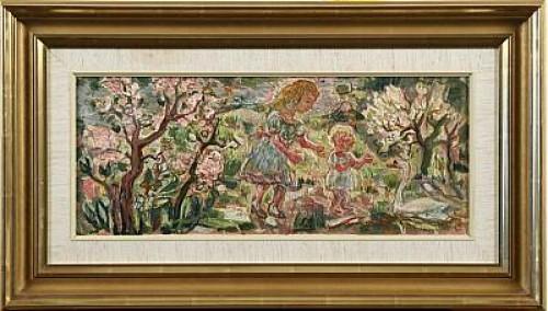 Komposition Med Barn Och Svan by Olle NORDBERG