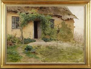 (tillskriven) Hus Med Trädgård by Hugo SALMSON