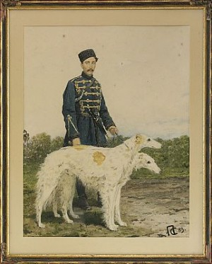 A Huntsman With His Borzoi Dogs by Piotr Feodorovich SOKOLOV