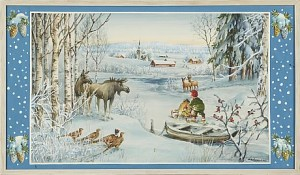 Vinterlandskap Med Tomte by Erik FORSMAN
