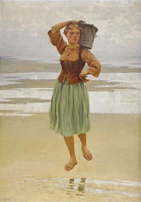 Ostronplockerska På Stranden by August HAGBORG