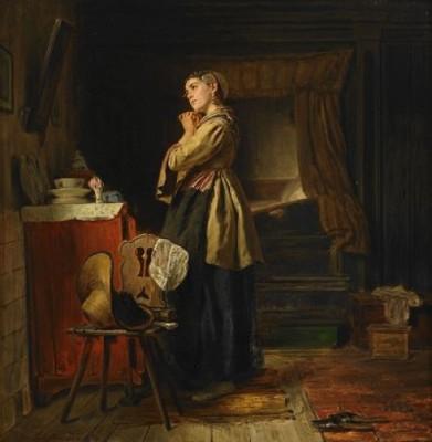 Flicka Framför Spegeln - Interiör by Ferdinand FAGERLIN