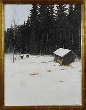 Rådjur I Skogsbryn Med Stuga by Lennart SAND