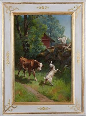 Sommaridyll Med Kalv Och Getter by Adolf Heinrich MACKEPRANG
