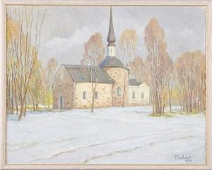 Vinterlandskap Med Kyrka by Peter KURBATOV