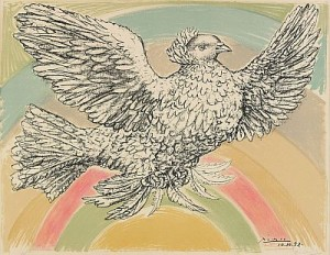 Colombe Volant (à L Arc-en-ciel), Signed And Numbered In Pencil by Pablo PICASSO