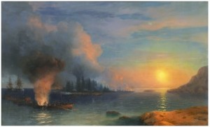 The Battle Of Bomarsund by Ivan Konstantinovich AIVAZOVSKY