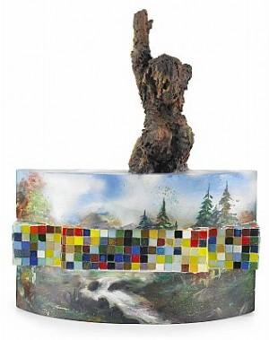 Mot Höjderna. Mosaik Och Olja Med Assemblage by Ernst BILLGREN