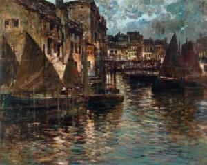 Moonlit Night In Genoa by Felice GIORDANO