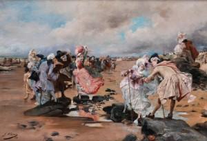 Hofische Rokoko-gesellschaft Am Strand by Georges Jules Victor CLAIRIN