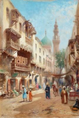 Gatuscen Från Kairo by Frans Wilhelm ODELMARK