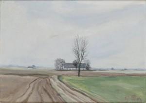 Landskap Med Hus by Emil 'E. J-Thor' JOHANSON-THOR