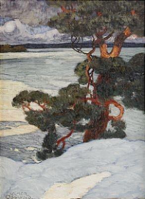 Norrländskt Insjölandskap - by Helmer OSSLUND