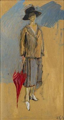 Kvinna Med Rött Paraply by Christian KROHG