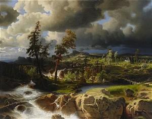 Forslandskap Med åtvids Gamla Kyrka I Fonden by Marcus LARSON