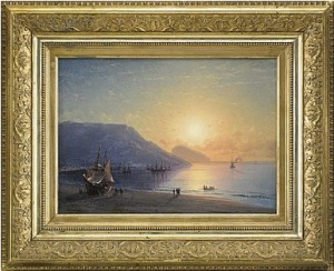 Yalta From The Beach, Ayu Dag Behind by Ivan Konstantinovich AIVAZOVSKY