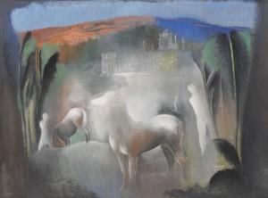 Traumlandschaft (pferde Und Figuren Im Licht Nr.ii.) by Béla KÁDÁR