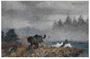 Höstlandskap Med älgtjur Och Ko Samt Gråhund by Lindorm LILJEFORS