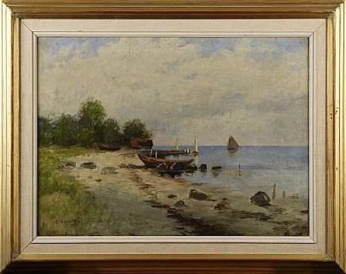 Kustlandskap Med Båtar Och Byggnader Vid Brygga by Carl BRANDT