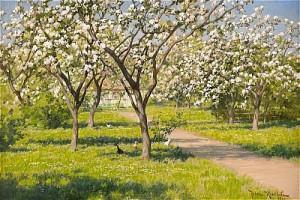Gårdsidyll Med Blommande äppleträd Och Höns by Johan KROUTHÉN