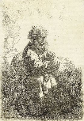 St. Jerome Kneeling In Prayer, Looking Down by Rembrandt Harmenszoon Van RIJN