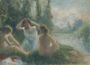Baigneuses Assises Au Bord D'une Rivière by Camille PISSARRO