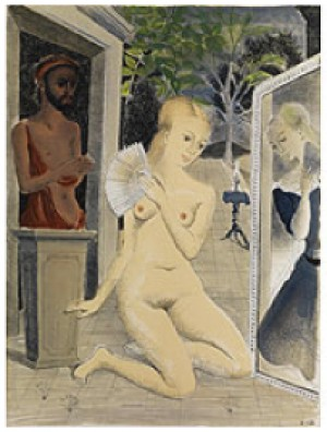 The Fan by Paul DELVAUX