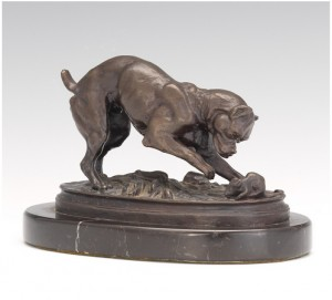 Boxer Cornering A Rat by Antoine-Louis BARYE