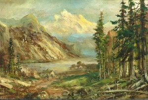 Mountain Lake With Indian Encampment by Frederick Ferdinand SCHAFER