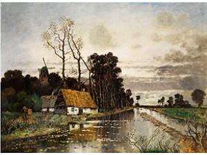 Moorlandschaft Mit Bauernkaten An Einem überfluteten Kanal by Karl HEFFNER