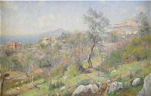 Utsikt Från Sorrento Med Neapel Och Vesuvius I Fonden by Axel LINDMAN