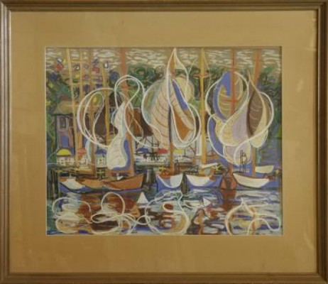 Segelbåtar Vid Kaj by Tage HEDQVIST