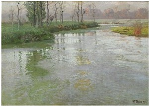 Au Bord De La Canche Eller On The Banks Of The Canche At Montreuil-sur-mer by Frits THAULOW
