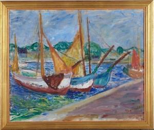 Hamnbild Med Segelbåtar by Ragnvald 'Ragnvald M' MAGNUSSON
