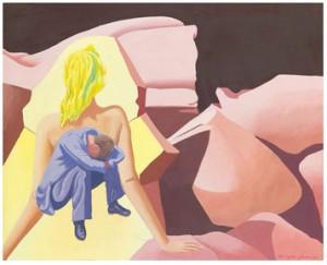 Surrealistiskt Landskap Med Man Och Kvinna by Vilhelm BJERKE-PETERSEN