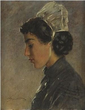 Breton Girl by Konstantin Egorovich MAKOVSKY