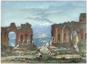 Taormina Med Etna I Bakgrunden by Johan Zacharias BLACKSTADIUS