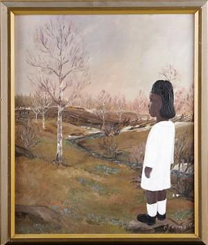 Flicka På Landsbygden, Olja På Befintlig/funnen Oljemålning (signerad ö.ferne -50) by Marianne LINDBERG DE GEER