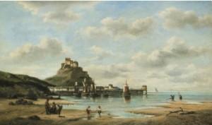 Strandlandskap Med Figurer - Jersey by Auguste MUSIN