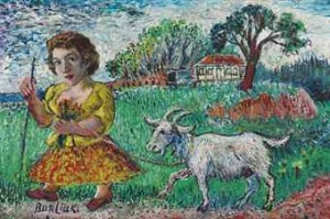 Girl With Goat by David Davidovich BURLIUK