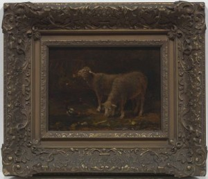 Two Sheep In A Manger by Charles Emile JACQUE