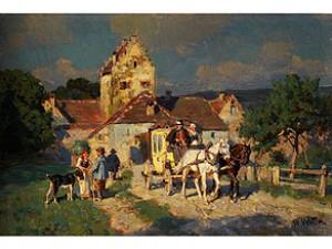 Postkutsche Vor Dem Tor Eines Fränkischen Städtchens by Wilhelm VELTEN