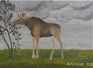 älg I Landskap by Nils Nilsson (Sami Artist) SKUM