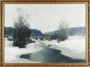 Vinterlandskap Med å by Carl BRANDT
