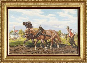 Plöjande Bonde Med Hästar by Leszek PIASECKI