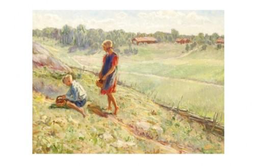 Bärplockande Barn En Sommardag by Gerda WALLANDER