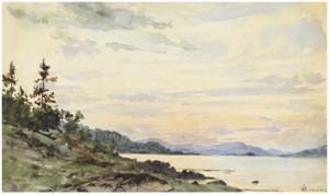 Kustlandskap Vid Solnedgång by Hans Fredrik GUDE