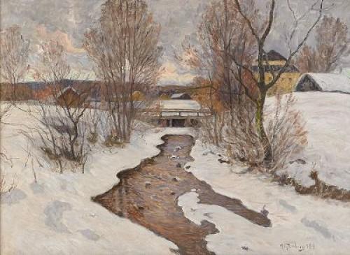 Aftonstämning I Bruksmiljö - Vintermotiv by Anton GENBERG
