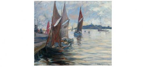 Fiskebåtar I Hamn by Karl BERGMAN